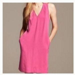 NWOT Banana Republic hot pink V- neck dress